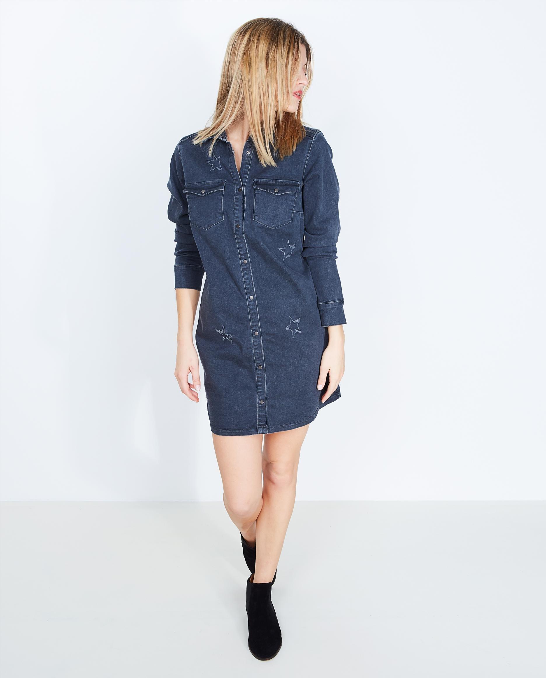 Robe chemise en jean gris